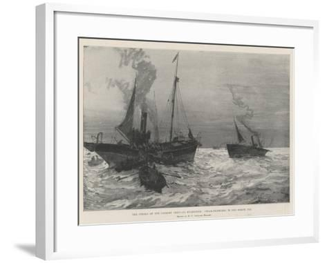 The Strike of the Grimsby Deep-Sea Fishermen, Steam-Trawlers in the North Sea-Henry Charles Seppings Wright-Framed Art Print