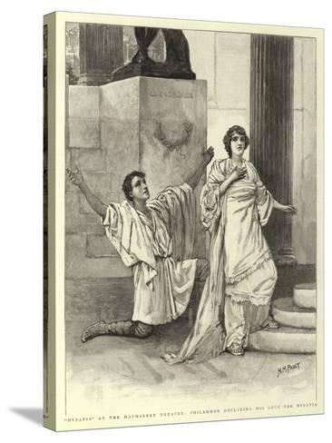 Hypatia at the Haymarket Theatre, Philammon Declaring His Love for Hypatia-Henry Marriott Paget-Stretched Canvas Print