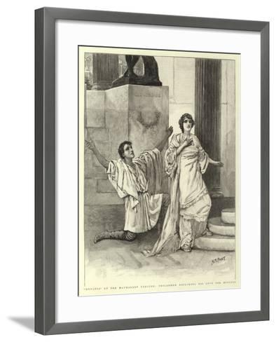 Hypatia at the Haymarket Theatre, Philammon Declaring His Love for Hypatia-Henry Marriott Paget-Framed Art Print