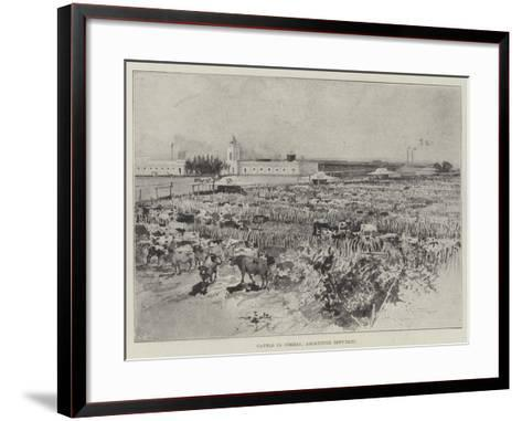 Cattle in Corral, Argentine Republic-Henry Charles Seppings Wright-Framed Art Print