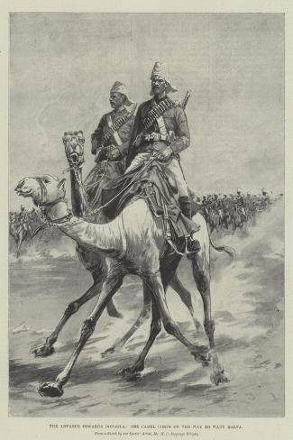 The Advance Towards Dongola, the Camel Corps on the Way to Wady Halfa-Henry Charles Seppings Wright-Stretched Canvas Print