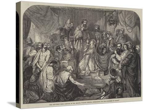 Queen Philippa Interceding for the Burgesses of Calais-Henry Courtney Selous-Stretched Canvas Print