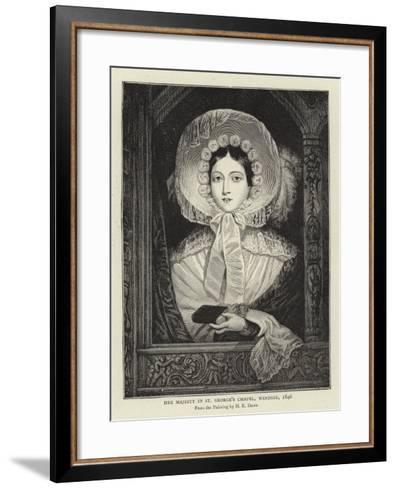 Her Majesty in St George's Chapel, Windsor, 1846-Henry Dawe-Framed Art Print