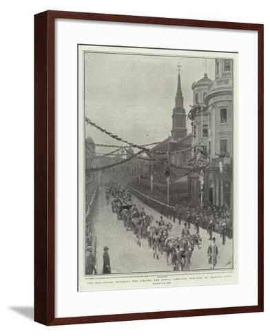 The Procession Entering the Strand, the Royal Carriage Arriving at Charing Cross-Henry Marriott Paget-Framed Art Print