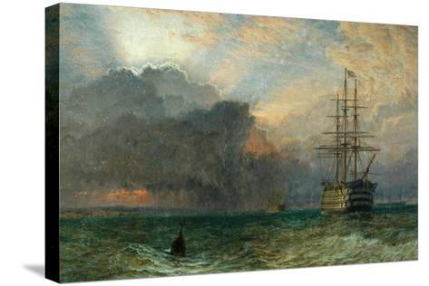 Man O'War and a Stormy Sunset (The Guardship), 1875-Henry Dawson-Stretched Canvas Print