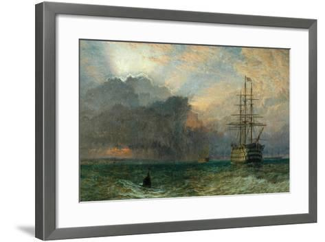 Man O'War and a Stormy Sunset (The Guardship), 1875-Henry Dawson-Framed Art Print