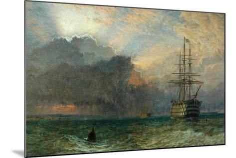 Man O'War and a Stormy Sunset (The Guardship), 1875-Henry Dawson-Mounted Giclee Print