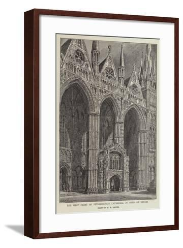 The West Front of Peterborough Cathedral in Need of Repair-Henry William Brewer-Framed Art Print
