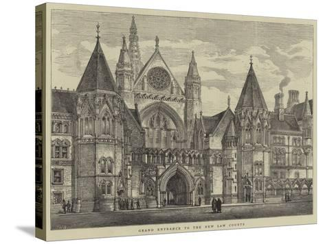 Grand Entrance to the New Law Courts-Henry William Brewer-Stretched Canvas Print