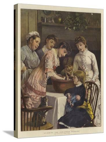 Stirring the Christmas Pudding-Henry Woods-Stretched Canvas Print