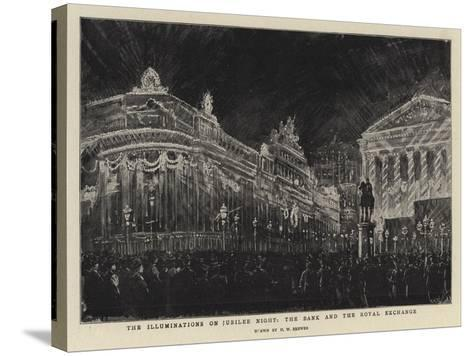 The Illuminations on Jubilee Night, the Bank and the Royal Exchange-Henry William Brewer-Stretched Canvas Print