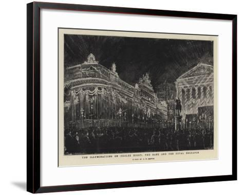 The Illuminations on Jubilee Night, the Bank and the Royal Exchange-Henry William Brewer-Framed Art Print