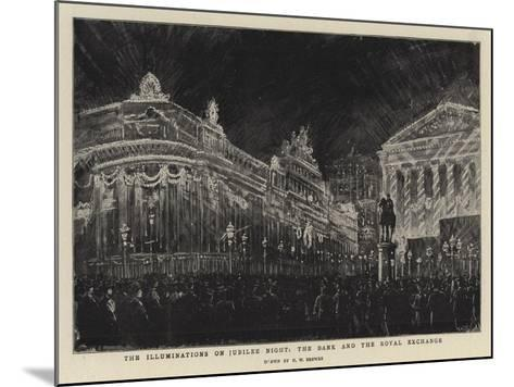 The Illuminations on Jubilee Night, the Bank and the Royal Exchange-Henry William Brewer-Mounted Giclee Print
