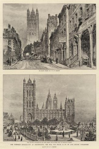 The Proposed Embankment at Westminster, the Bill for Which Is to Be Laid before Parliament-Henry William Brewer-Stretched Canvas Print