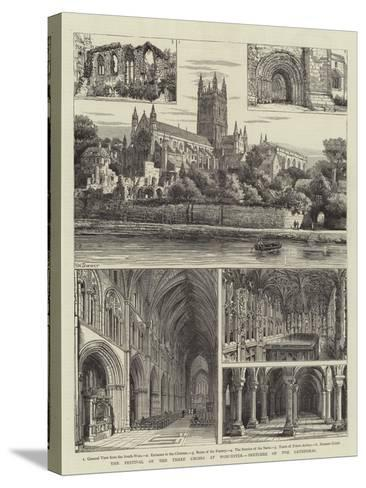 The Festival of the Three Choirs at Worcester, Sketches of the Cathedral-Henry William Brewer-Stretched Canvas Print