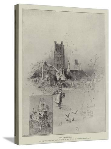 Ely Cathedral-Herbert Railton-Stretched Canvas Print