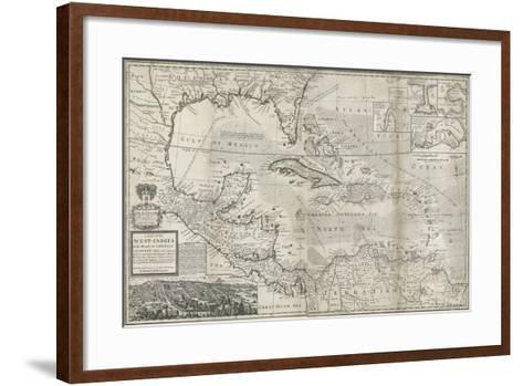 Map of the Caribbean, 1715-Hermann Moll-Framed Art Print