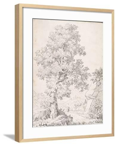 Landscape, a Shepherd and His Goats Walking by a Tree-I. Inghivami-Framed Art Print