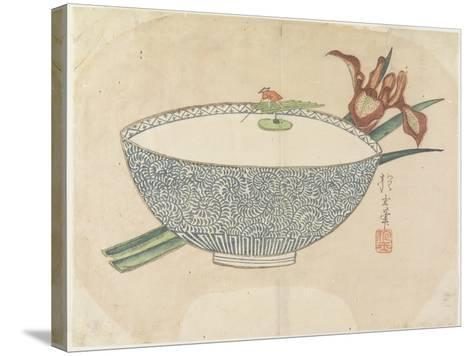 Bowl of Water with Tiny Boatman Floating, C. 1830- Hogyoku-Stretched Canvas Print