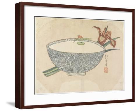 Bowl of Water with Tiny Boatman Floating, C. 1830- Hogyoku-Framed Art Print