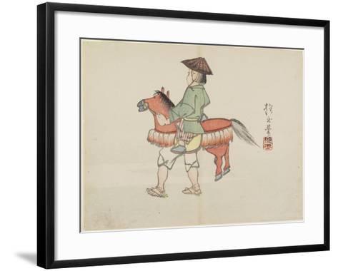 (Street Performer with Horse Costume), C. 1830- Hogyoku-Framed Art Print