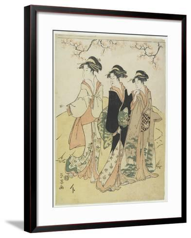 Three Courtesans under Cherry Tree, C. 1790s-Hosoda Eisho-Framed Art Print