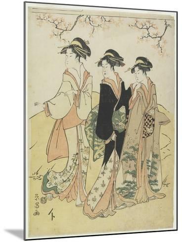 Three Courtesans under Cherry Tree, C. 1790s-Hosoda Eisho-Mounted Giclee Print