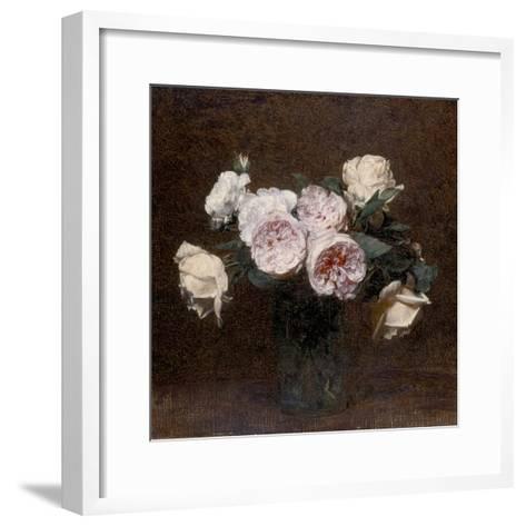 Still Life: Pink, White and Yellow Roses, 1894-Ignace Henri Jean Fantin-Latour-Framed Art Print