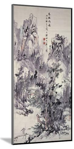 Spring Woods, Passing Rain, 1856 (Hanging Scroll: Ink and Colour on Paper)-Hine Taizan-Mounted Giclee Print