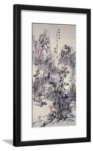 Spring Woods, Passing Rain, 1856 (Hanging Scroll: Ink and Colour on Paper)-Hine Taizan-Framed Art Print