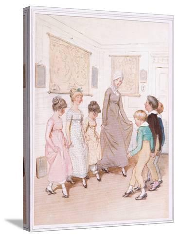Miss Phoebe Is Giving a Dancing Lesson to Half a Dozen Pupils, and Is Doing Her Very Best-Hugh Thomson-Stretched Canvas Print