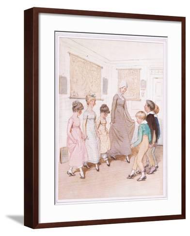 Miss Phoebe Is Giving a Dancing Lesson to Half a Dozen Pupils, and Is Doing Her Very Best-Hugh Thomson-Framed Art Print