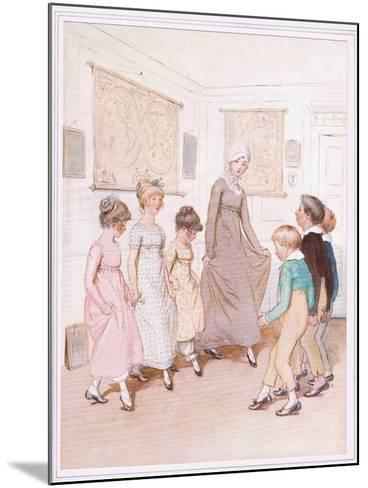 Miss Phoebe Is Giving a Dancing Lesson to Half a Dozen Pupils, and Is Doing Her Very Best-Hugh Thomson-Mounted Giclee Print