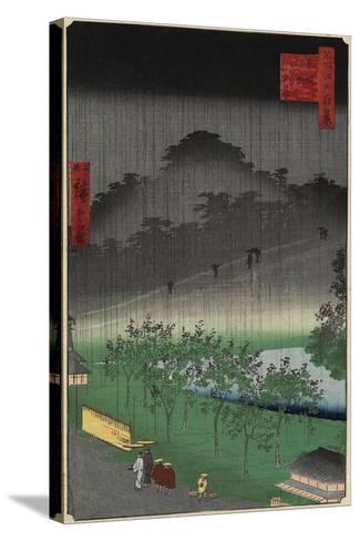 Evening View, Paulownia Plantation at Akasaka in Downpour, April 1859--Stretched Canvas Print