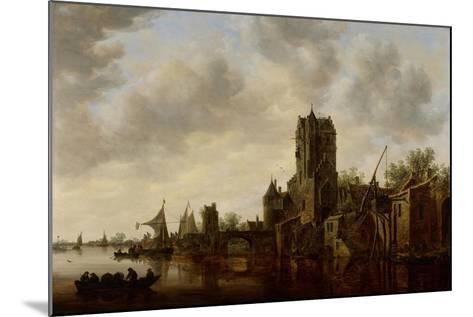 River Landscape with the Pellecussen Gate Near Utrecht, 1648-Jan Van Goyen-Mounted Giclee Print