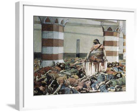 Abimelech Slays His Seventy Brethren-James Jacques Joseph Tissot-Framed Art Print