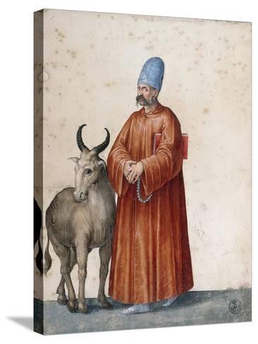 Turkish Man with Goat-Jacopo Ligozzi-Stretched Canvas Print