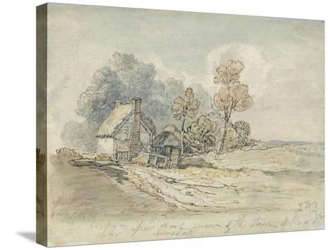 A Thatched Cottage and Trees at the Turn of a Country Road (Pen and W/C on Paper)-James Ward-Stretched Canvas Print