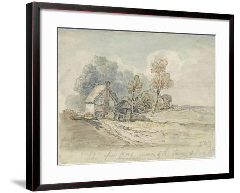 A Thatched Cottage and Trees at the Turn of a Country Road (Pen and W/C on Paper)-James Ward-Framed Art Print