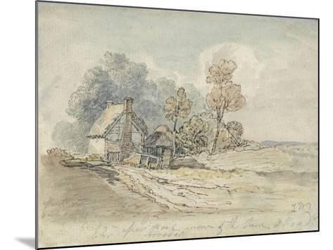 A Thatched Cottage and Trees at the Turn of a Country Road (Pen and W/C on Paper)-James Ward-Mounted Giclee Print