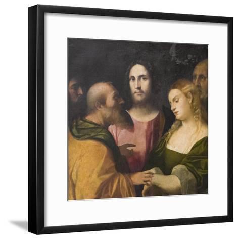 Christ and the Adulteress, 1525-28-Jacopo Palma-Framed Art Print
