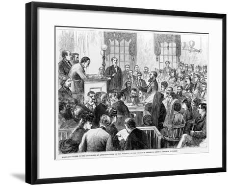 Maryland - Scene in the Court-House at Annapolis - Trial of Mrs Wharton on the Charge of Murdering-James E. Taylor-Framed Art Print