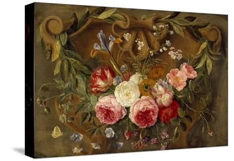 Decorative Still-Life Composition with a Garland of Flowers-Jan van Kessel the Elder-Stretched Canvas Print