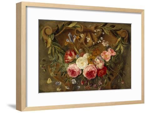 Decorative Still-Life Composition with a Garland of Flowers-Jan van Kessel the Elder-Framed Art Print