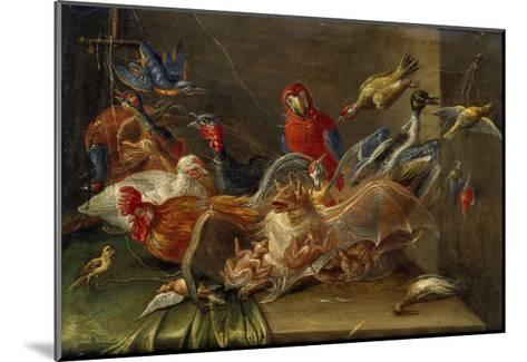 Decorative Still-Life Composition with Birds and Two Bats-Jan van Kessel the Elder-Mounted Giclee Print