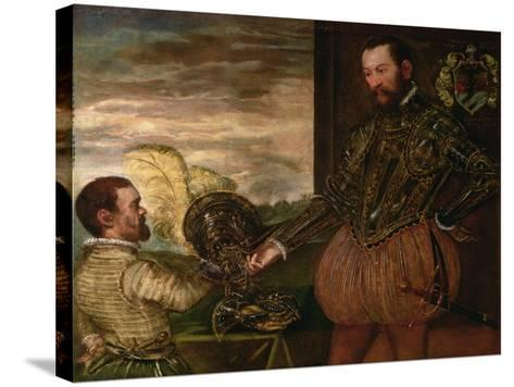Scipio Clusone with a Dwarf Valet-Jacopo Robusti Tintoretto-Stretched Canvas Print