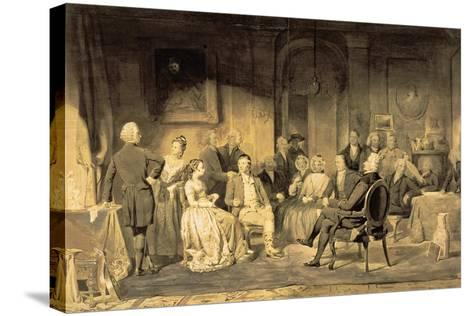 Robert Burns (1759-96) at Lord Monboddo's (1714-99) Party, 1854 (Pen and Ink Wash on Paper)-James Edgar-Stretched Canvas Print