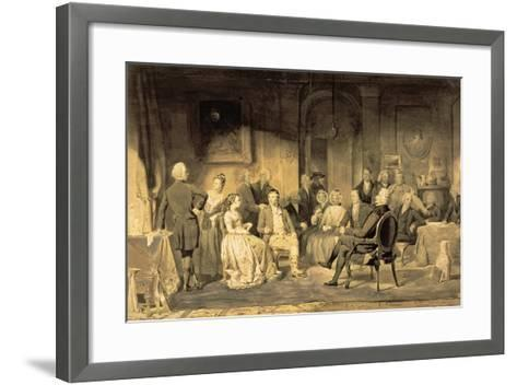 Robert Burns (1759-96) at Lord Monboddo's (1714-99) Party, 1854 (Pen and Ink Wash on Paper)-James Edgar-Framed Art Print