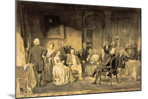 Robert Burns (1759-96) at Lord Monboddo's (1714-99) Party, 1854 (Pen and Ink Wash on Paper)-James Edgar-Mounted Giclee Print