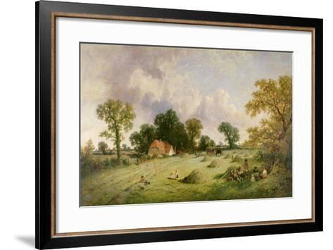 Haymaking in Hampshire-James Edwin Meadows-Framed Art Print
